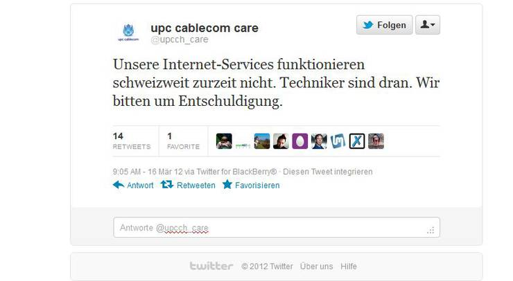 upc cabelcom twitter via BlackBerry zum schweizweiten Ausfall des Internet-Services.