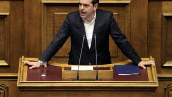 Alexis Tsipras am Mittwochabend im Parlam,ent in Athen.