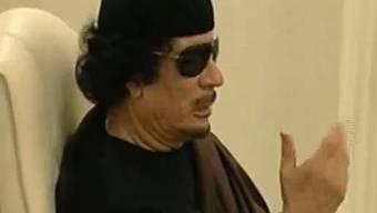 Gaddafi auf einem TV-Bild des Senders Al Arabiya