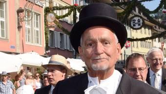 Unvergessen: Am traditionellen Rutenzug trug Ernst Rothenbach stets Frack und Zylinder. (Bild: Brugg, 2. Juli 2015)