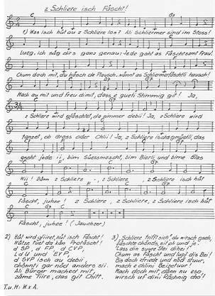 Das Schlierefäscht-Lied aus der Feder von Werner von Aesch.