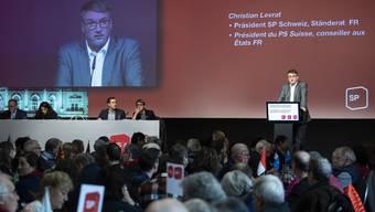 SP-Präsident Christian Levrat spricht an der Delegiertenversammlung