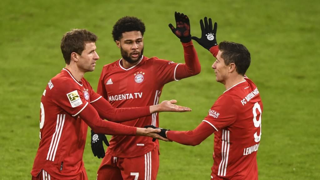 Robert Lewandowski (rechts) hält Bayern München auf Kurs. Dank dem Polen gewinnt der Meister gegen Wolfsburg 2:1