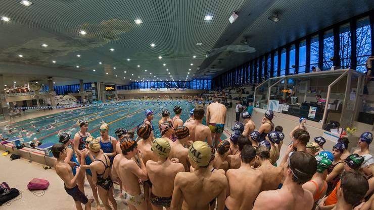 Einschwimmen in der imposanten 50m Halle in Oerlikon