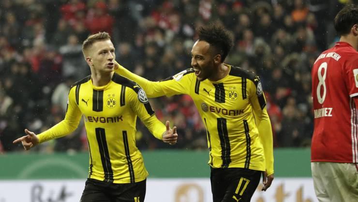Trafen bei Dortmunds Sieg im Cup-Halbfinal in München jeweils einmal: Marco Reus (links) und Pierre-Emerick Aubameyang