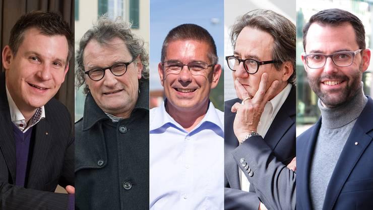 Reto Schmid (CVP), Geri Müller (Team Baden), Markus Schneider (CVP), Erich Obrist (parteilos) und Benhard Schmid (CVP).
