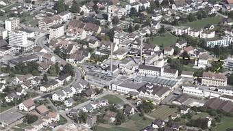So sah es vor einigen Jahren auf dem Areal der einstigen Schweizerischen Isola-Werke in Breitenbach aus. In das längliche Industriegebäude ganz links in der Kurve zieht bald Coop ein.