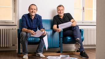 Silvan Wegmann und Diego Egloff, Mitorganisatoren des Festivals der Satire. B