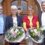 Kantonsratspräsident Urs Ackermann (v.l.), die Geehrten Margot Latscha und Doris Meyer sowie Präsident des Jugendfürsorgevereins Thal, Stephan Berger.