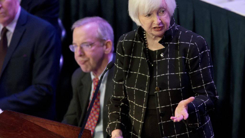 Fed-Chefin Janet Yellen bei einem Auftritt in New York: Die Protokolle der letzten Sitzung zeigen, dass sich die Fed-Führung über den Zinsentscheid nicht einig war. (Archivbild)