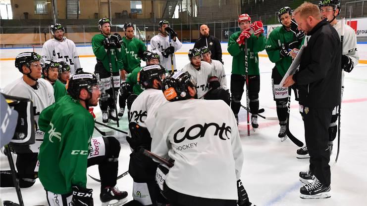Trainer Fredrik Söderström (r.) erklärt eine Übung, ist im intensiv geführten Eistraining sonst aber eher in der Beobachterrolle zu sehen.