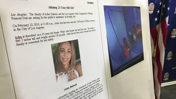 Fahndungsaufruf vom 27. März. Inzwischen wurde die angehende Schauspielerin Adea Shabani in Nordkalifornien tot aufgefunden. Der mutmassliche Mörder hat sich umgebracht.