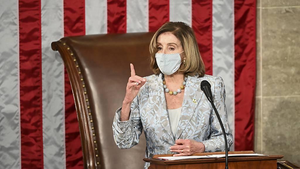 Nancy Pelosi, Sprecherin des Repräsentantenhauses der USA, am Eröffnungstag des neuen US-Kongresses. Foto: Bill O'leary/Pool The Washington Post/AP/dpa