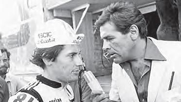 Mäni Weber vom Schweizer Radio interviewt den Sieger von 1979, Giuseppe Saronni.