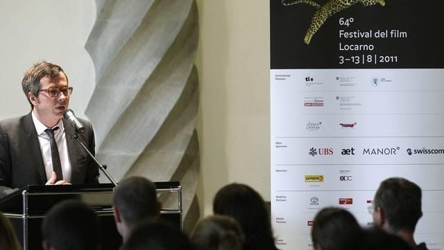Olivier Père, Direktor des Filmfestivals Locarno, während der Medienkonferenz in Bern