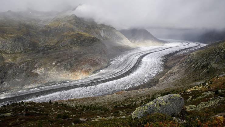 Blick auf den Aletschgletscher im Kanton Wallis.