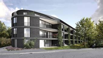 Die Überbauung auf der Mülimatte an der Loorenstrasse besteht aus drei Mehrfamilienhäusern. zvg/Visualisierung