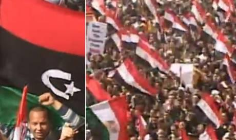 Tausende Ägypter solidarisieren sich in Kairo mit der libyschen Opposition (Screenshots Al Jazeera)