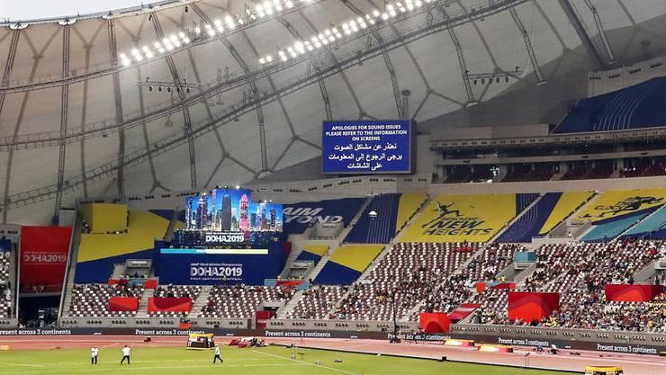 Unterkühlt: Khalifa-Stadion während der Leichtathletik-WM in Doha. Bild: Keystone