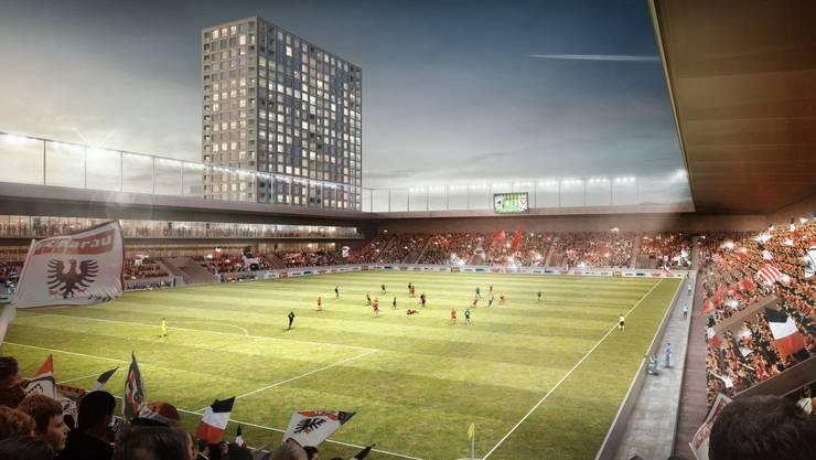 Im Torfeld Süd soll der FCA ein 60 Mio. Franken teures Stadion bekommen, das durch vier Hochhäuser querfinanziert wird.