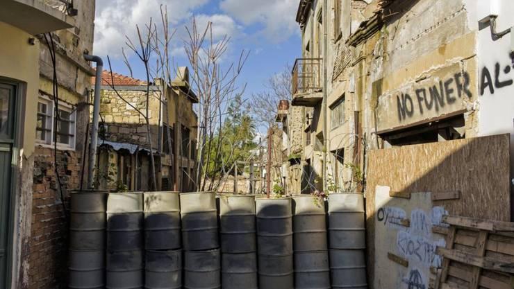 Die Trennlinie des geteilten Zypern in Nikosia.