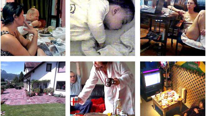 Die Bilder stammen alle von ungesicherten Überwachungskameras. Die Aufnahmen von der Gartenterrasse, dem Fitnesscenter und der Frau in der Haustür wurden diese Woche in der Schweiz gemacht.