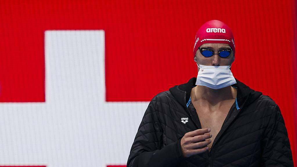 Jérémy Desplanches beim Einlauf in das Tokioter Aquatics Centre vor dem Olympia-Halbfinal über 200 m Lagen