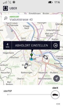 Eine Viertelstunde nach Start waren zwei Uber-X-Fahrzeuge im Raum Basel unterwegs.