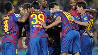 Barça bejubelt ein weiteres Tor von Messi (rechts)
