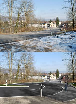 Oben die heutige Habsburgbrücke in Windisch, unten die zukünftige Linienführung der Habsburgstrasse an dem Kreisel Unterwerk