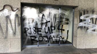 Gebäude der Credit Suisse in Solothurn wurde versprayt (16. Oktober 2019)