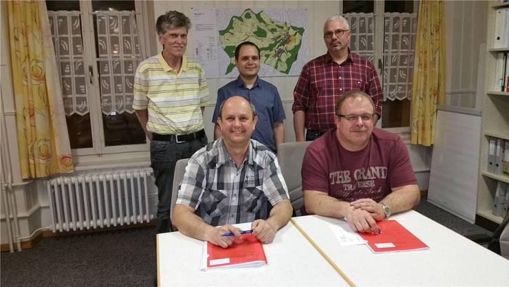 Treten im Herbst wieder an: Markus Gabriel und Herbert Räbmatter (v.l. vorne),Andreas Ott, Marcello De Matteo und Peter Basler (v.l. hinten).zvg