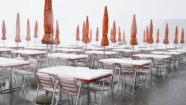 Aufnahme vom Freitag: Eine Restaurant-Terasse auf der Schwägalp AR