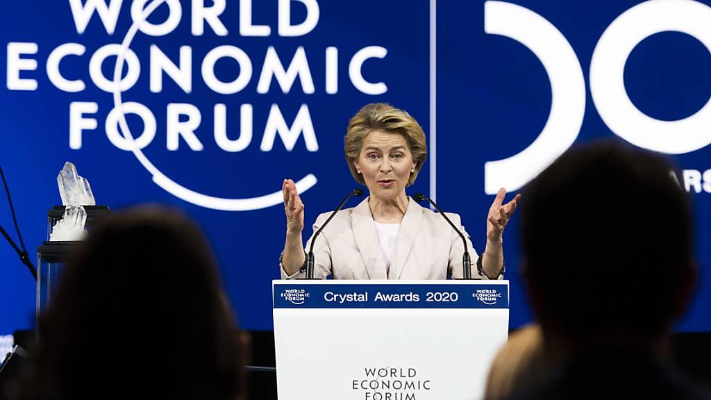 Ursula von der Leyen hielt eine Rede vor den WEF-Teilnehmern in Davos.