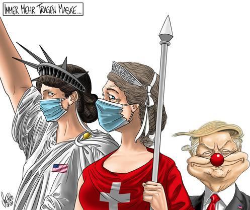 Trump machte sich häufig lustig über Maskenträger in der Pandemie. Er ist schliesslich selber an Covid-19 erkrankt, ohne schwere Symptome zu entwickeln.