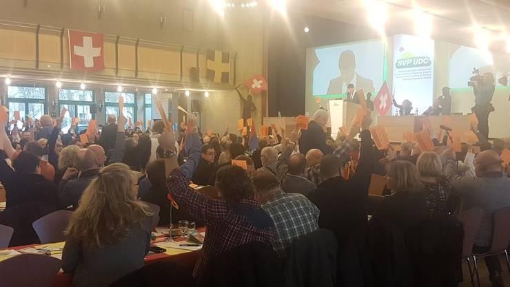 Das Ergebnis lautet bei der SVP am Ende: 239 zu 17 Stimmen.