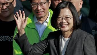 Taiwans chinakritische Präsidentin Tsai Ing-wen am Samstag in Taipeh. Sie wurde mit 57 Prozent der Stimmen für eine zweite vierjährige Amtszeit wiedergewählt.