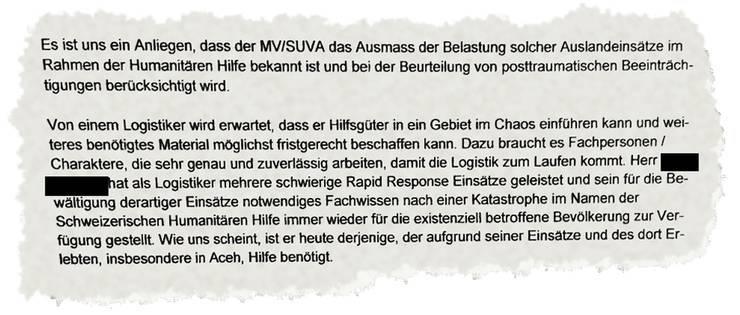 Ausriss aus dem Brief des Aussendepartements an die Militärversicherung.