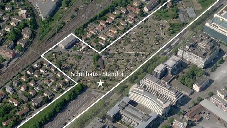 Auf der Karte wird das neue Quartier präziser verortet.