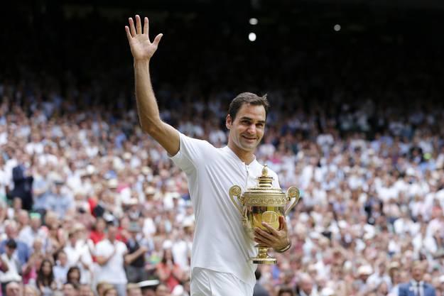 Roger Federer hat zum achten Mal Wimbledon gewonnen - damit ist er neu alleiniger Rekordhalter beim Rasenturnier in Wimbledon.