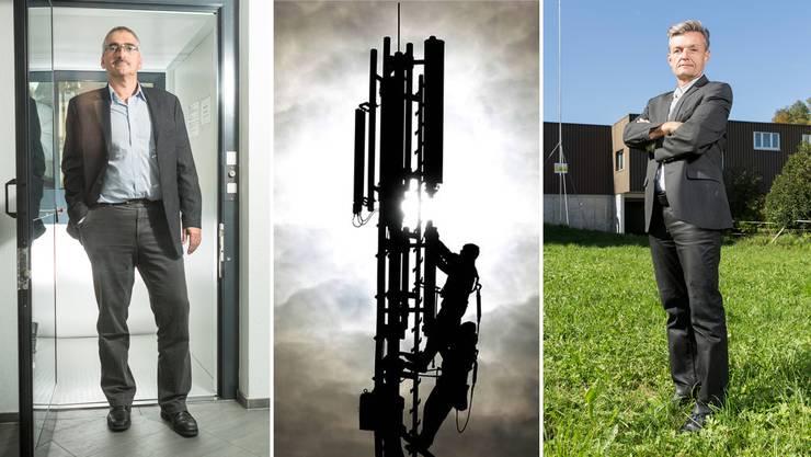 Für und wider die neue geplante Antenne: Hanspeter Gehrig (l.), Ammann von Ammerswil, und Einwohner Romy Fehr.