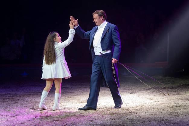 Chanel Marie Knie und Fredy Knie Jun. während ihrem Auftritt an der Premiere zur 100-Jahre-Jubiläumstournee des Circus Knie in Rapperswil (SG), am Donnerstag, 21. März 2019.