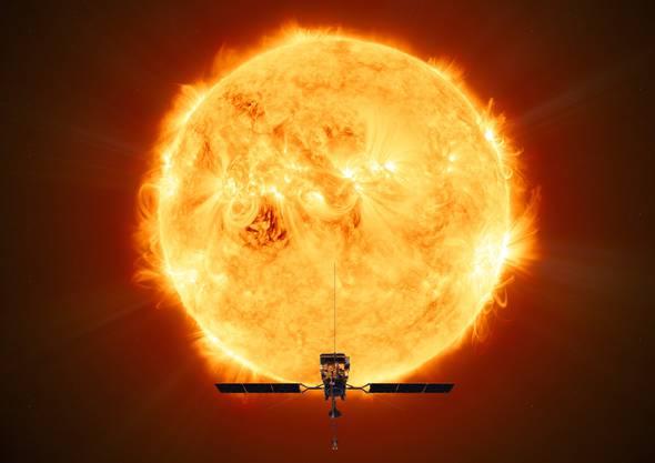 Spektakulär: Die Raumsonde vor der Sonne.