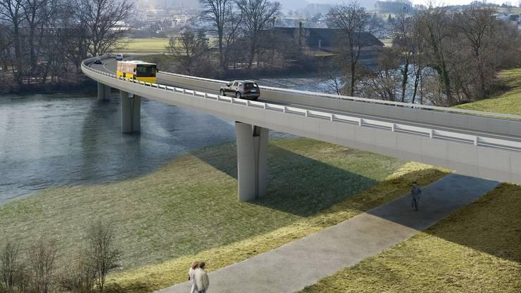 Wann die Umfahrungsbrücke über die Reuss bei Mellingen gebaut werden kann, ist weiterhin unklar. (Visualisierung)