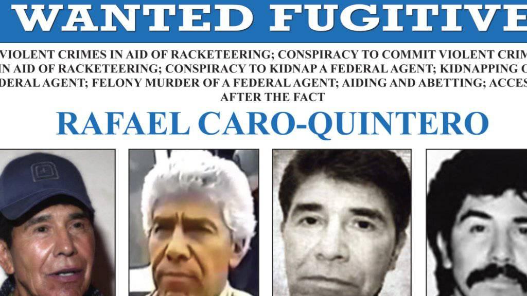 Die USA bieten 20 Millionen Dollar für Hinweise auf den mexikanischen Drogenboss Rafael Caro-Quintero.