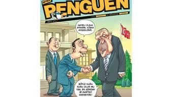 Auf der Titelzeichnung begrüssen Beamte des Präsidialamtes einen griesgrämigen Erdogan, der sich über den unzeremoniellen Empfang beschwert und sagt, man hätte ihm zu Ehren «wenigstens einen Journalisten schlachten» sollen. Doch darum ging es bei der Zeichnung nicht.
