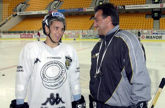 Jim Koleff in der Resega mit Spieler Jan Cadieux