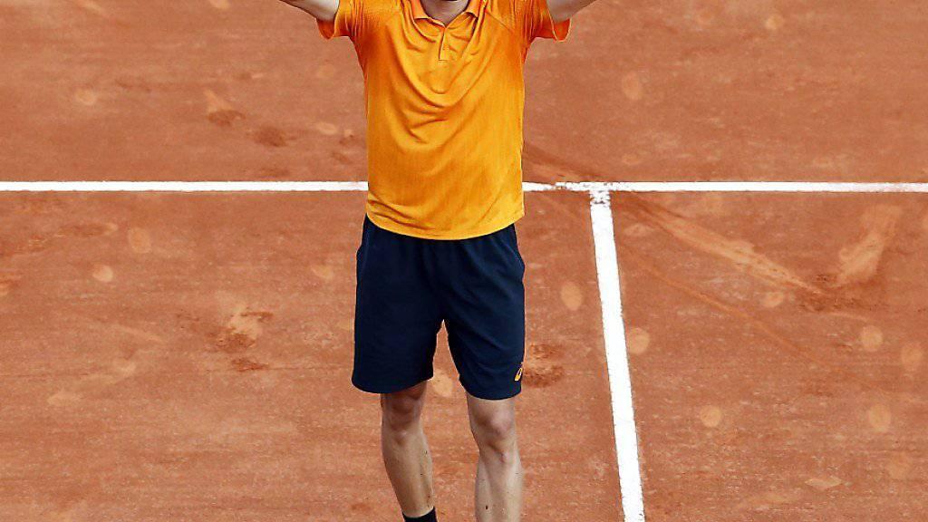 Der Sieg ist geschafft: David Goffin beim Jubel nach dem Triumph gegen Djokovic