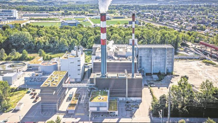 Drohnenaufnahme des Kebag-Areals am Emmenspitz. 2026 beginnt der Rückbau der heutigen Anlage.