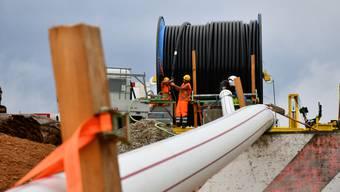 Swissgrid baut zwischen Beznau und Birr das Kabelnetz aus. (Archivbild Baustelle Gäbihübel)